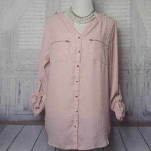 AVENUE PLUS SIZE 14 16 PINK WORK TOP BLOUSE SUMMER